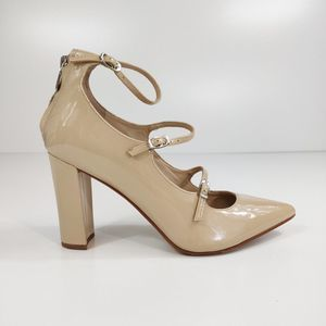 Marc Fisher heel zip nude patent block heel